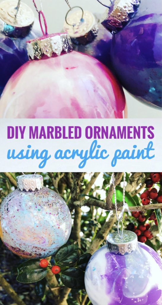 Create beautiful ornaments with plastic globes and acrylic paint. This is a great craft to do with kids this Christmas. So fun to mix the colors.