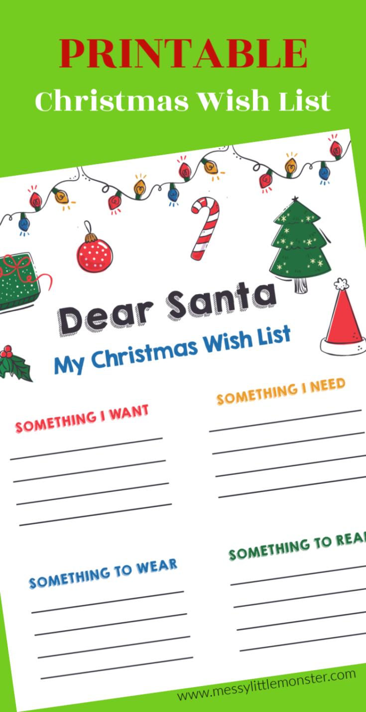4 gifts for Christmas - Printable Christmas List