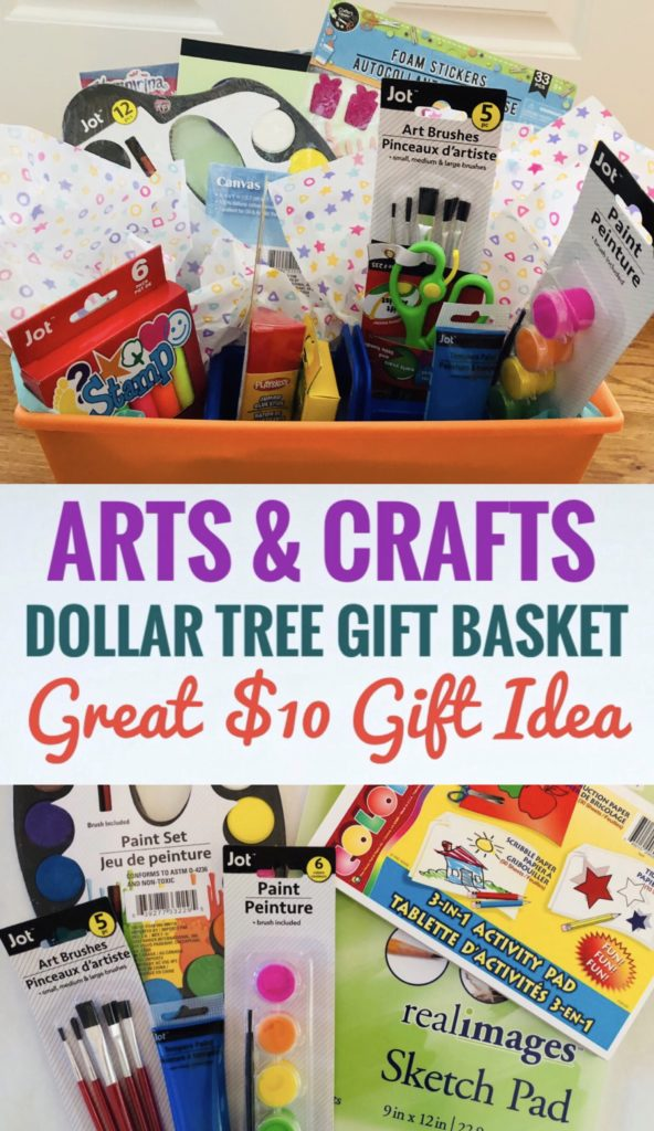 Arts & Crafts Dollar Tree Gift Basket for Kids