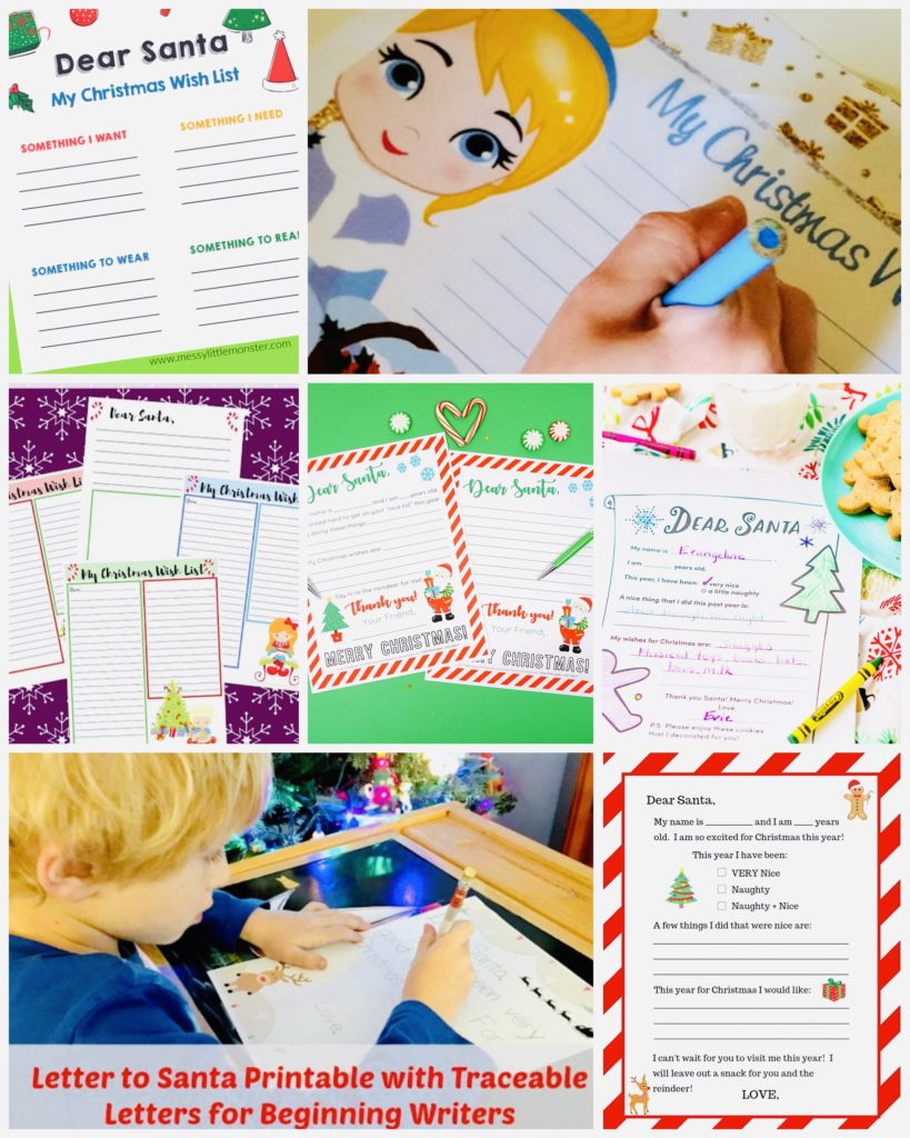 Free Printable Santa Lists and Letters