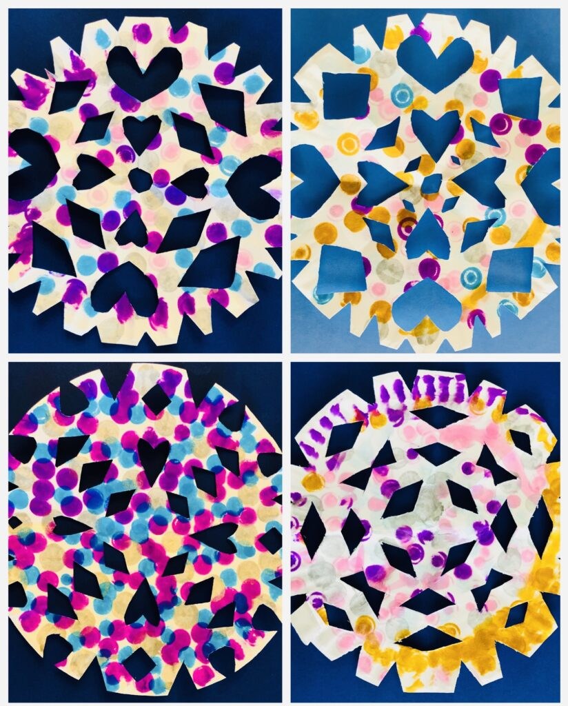 Paper Plate Snowflakes with Dot Markers