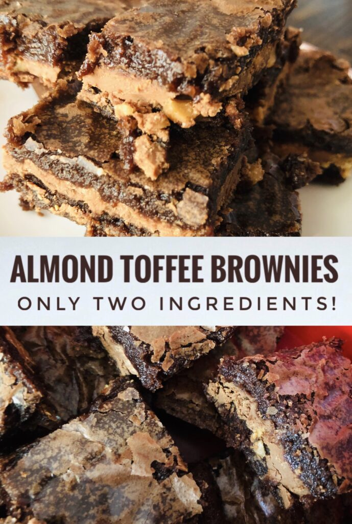 Easiest Almond Toffee Brownies with only two ingredients