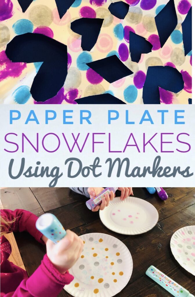 Create Paper Plate Snowflakes using Dot Markers for a fun winter craft activity. This snowflake craft is perfect for kids of all ages!