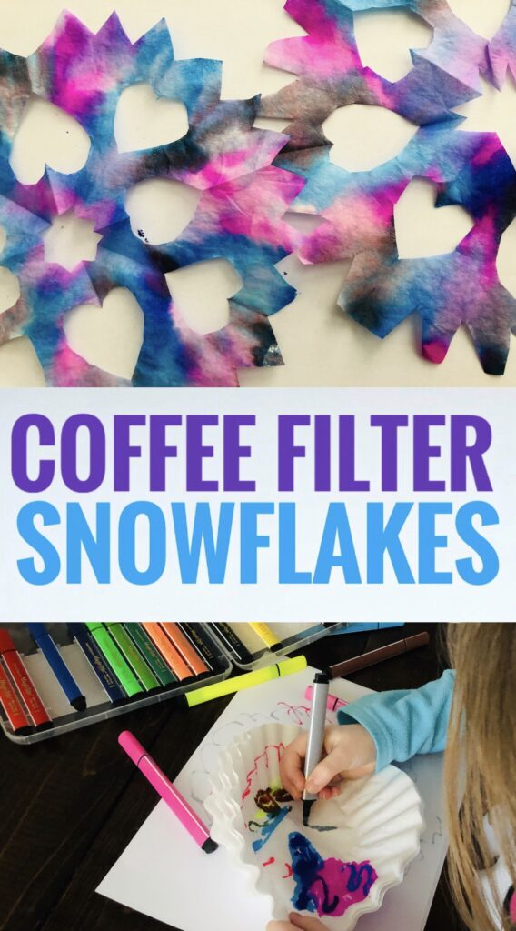 Make easy Coffee Filter Snowflakes with Magic Stix washable markers. This is such a fun and simple winter craft to do with kids.