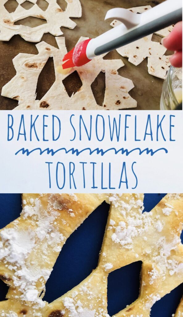 Baked Snowflake Tortillas with Powdered Sugar make a fun winter snack for kids!
