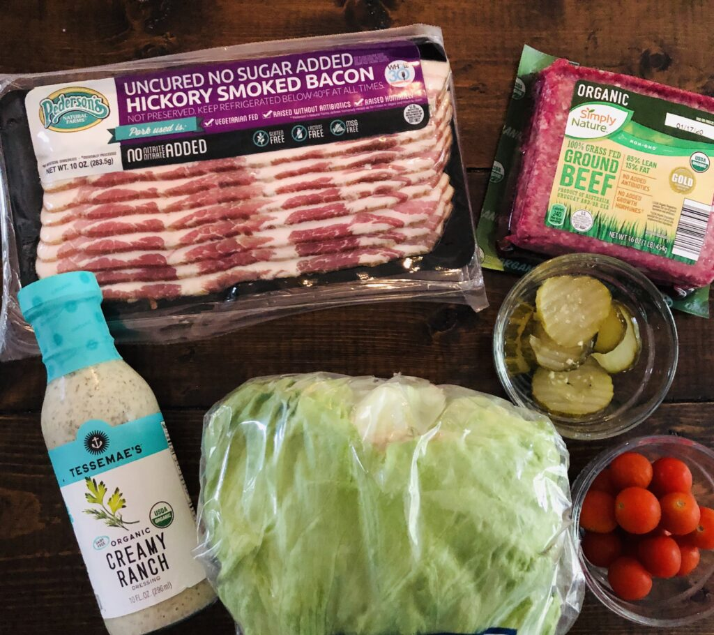 Ingredients for Whole30 Bacon Ranch Burger Salad