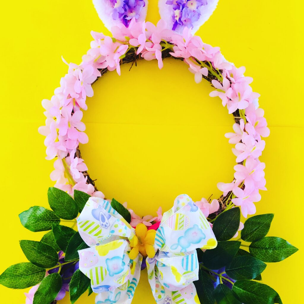 DIY Dollar Tree Easter Bunny Wreath Craft