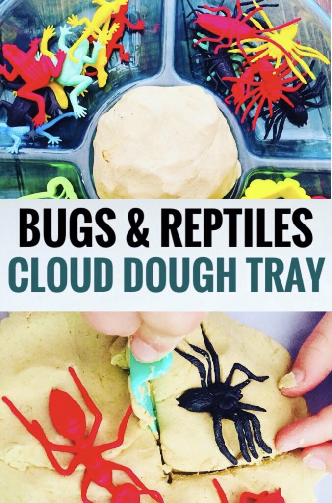 Bugs and Reptiles Cloud Dough Tray for Nature Week Craft Activity