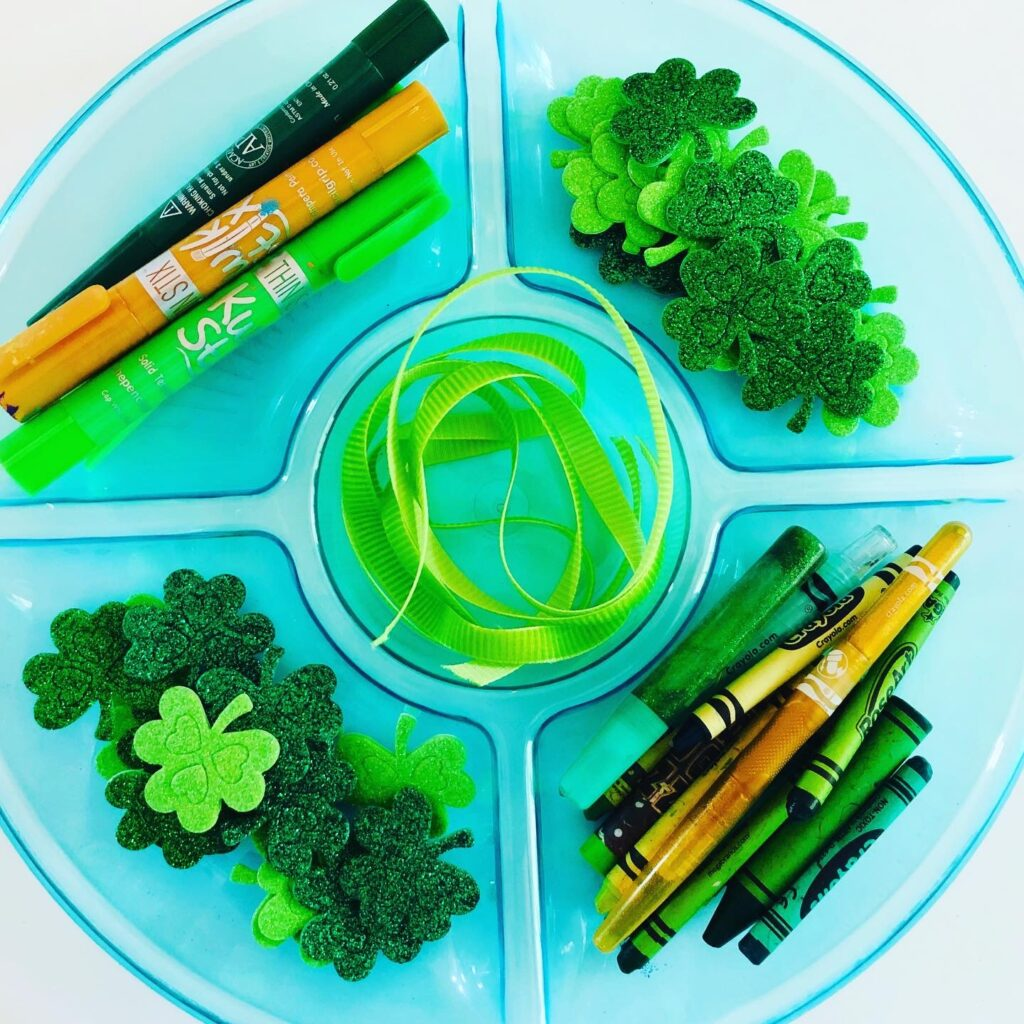 St. Patrick's Day Craft Tray Setup