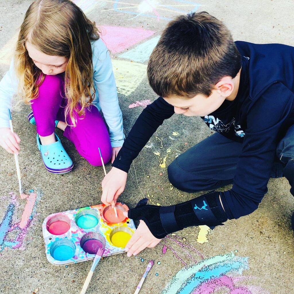 Messy Outdoor Play with Sidewalk Paint