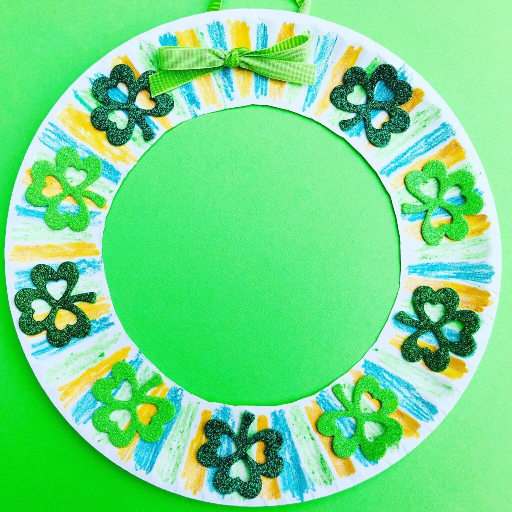 Paper Plate Shamrock Wreath Craft for Kids