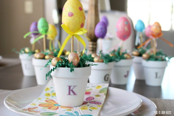 My Dollar Store DIY | Easter Egg Topiary Placecards