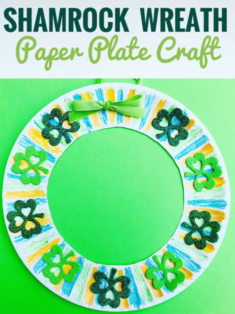 Shamrock Wreath Paper Plate Craft for Kids