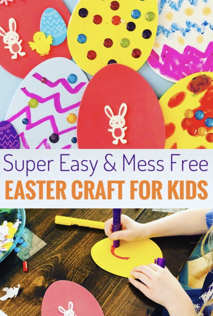 Super Easy and Mess Free Easter Craft for Kids using foam shapes
