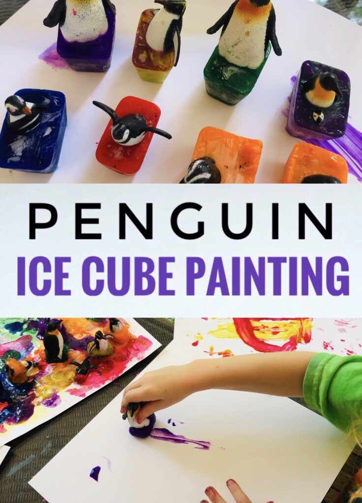 Penguin Ice Cube Painting Activity for Kids
