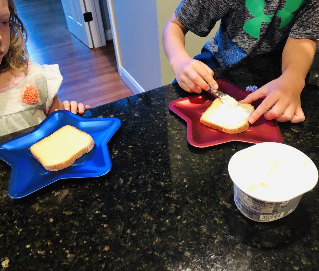 Kids in the Kitchen making 4th of July Breakfast