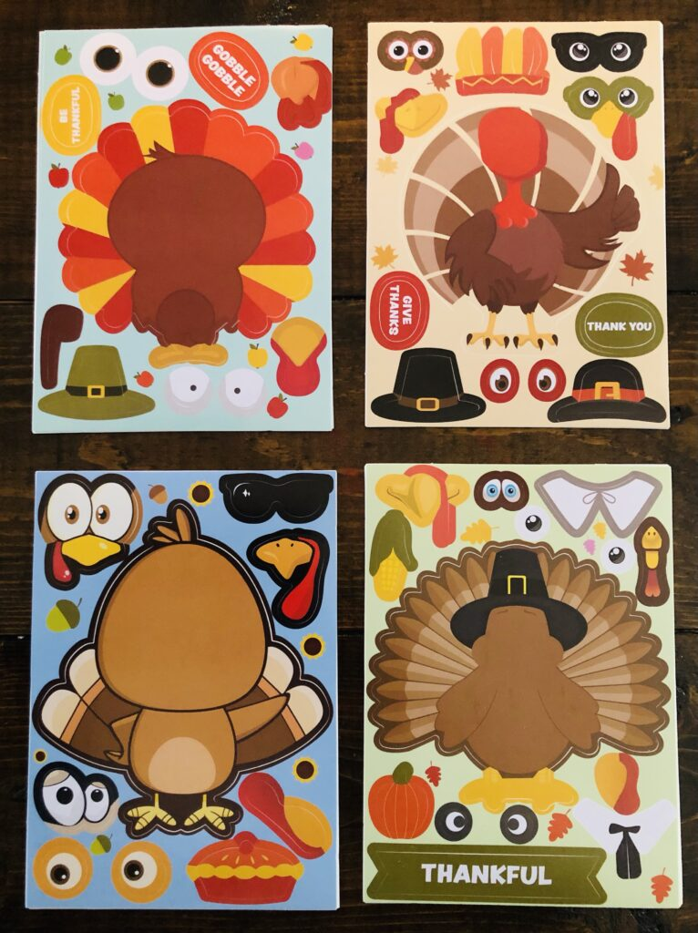 Create A Turkey Sticker Cards