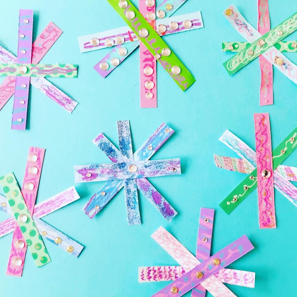 Paper Strip Snowflakes Craft Idea for Kids