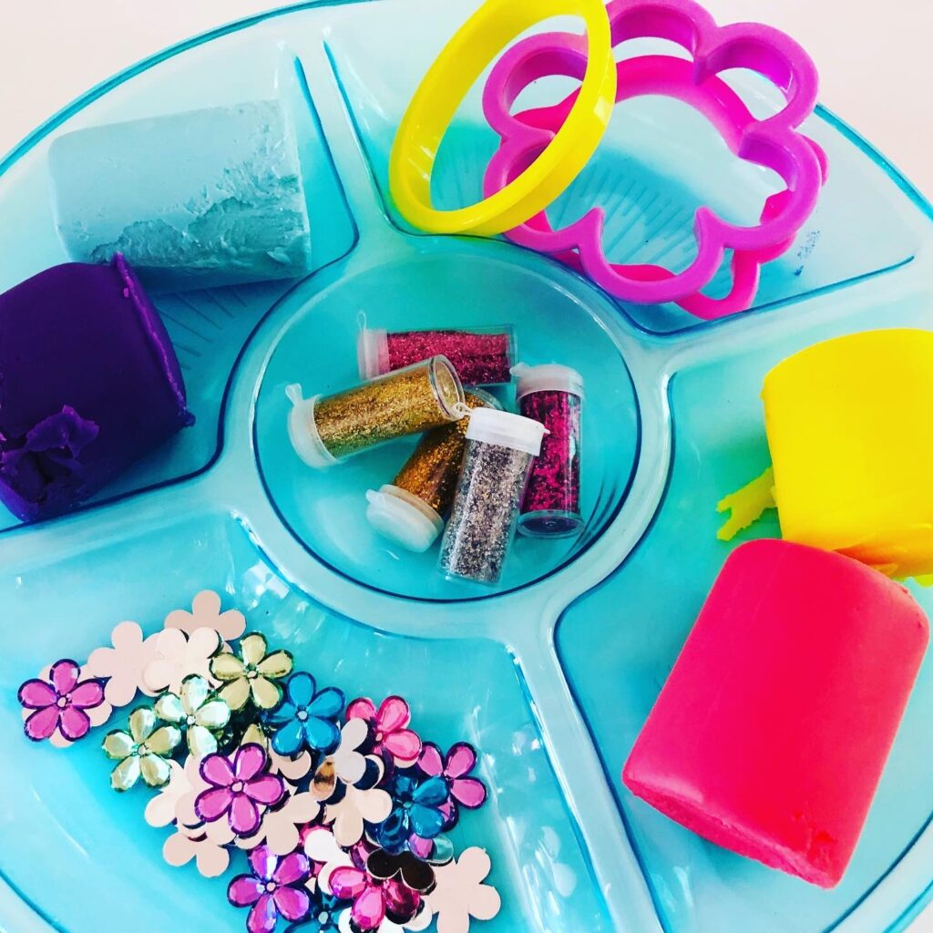 Spring Play Dough Activity Tray