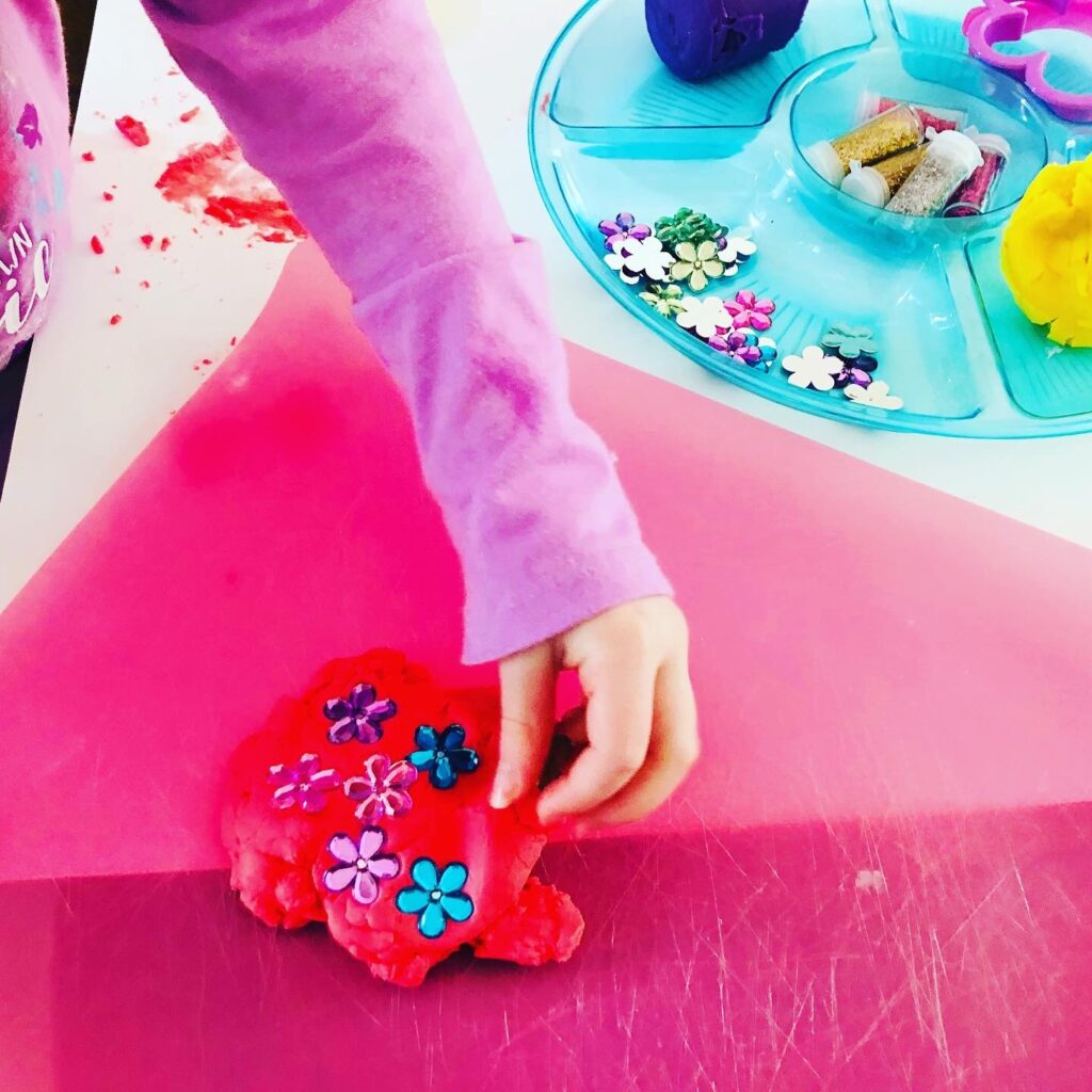 Easy Play dough activity for spring