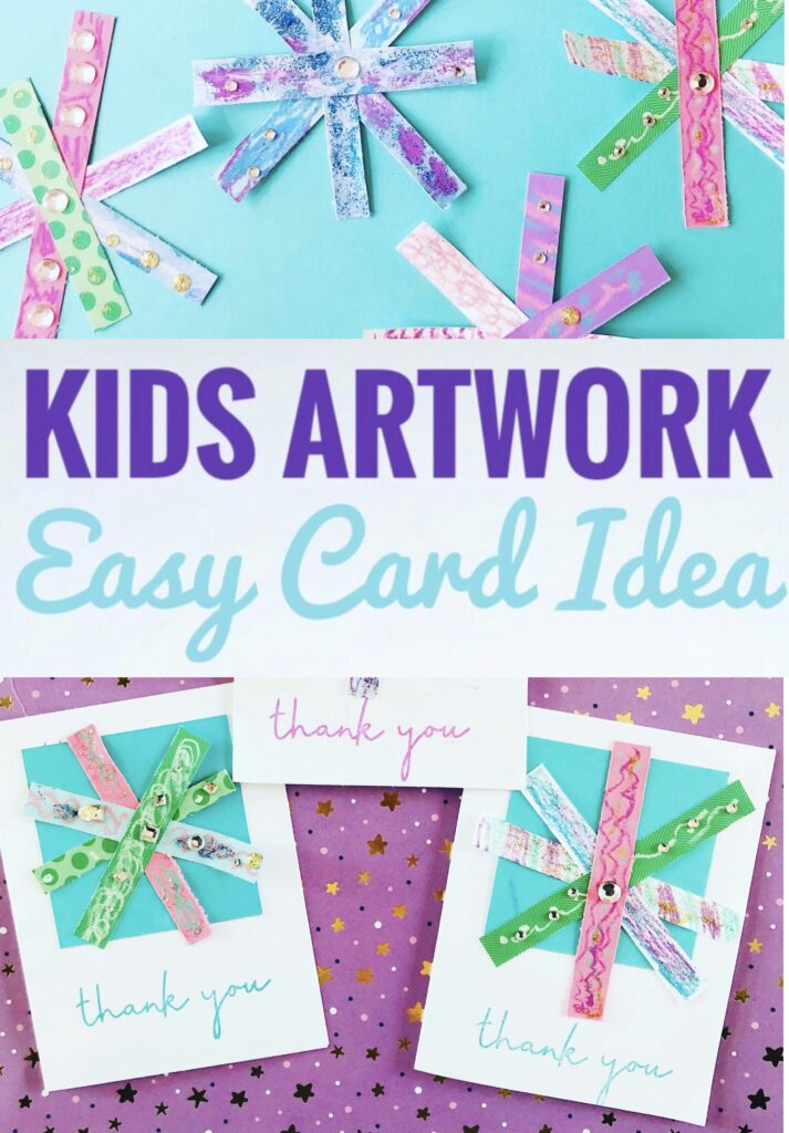 Easy Snowflake Card Idea Using Kids Artwork