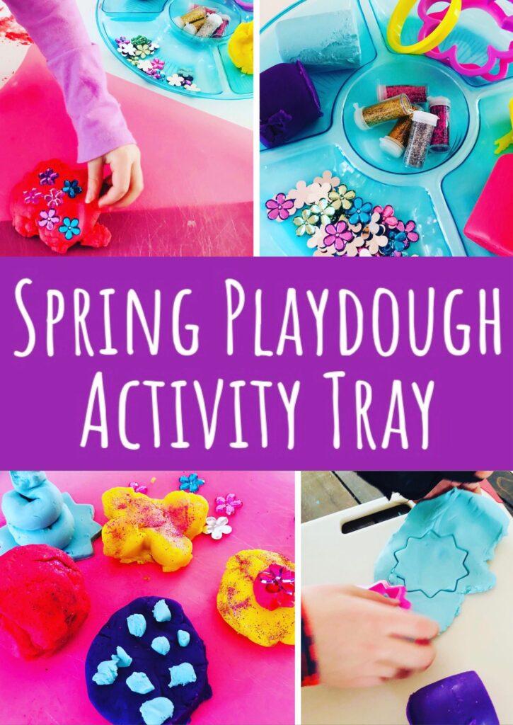 Spring Playdough Activity Tray using Dollar Tree Supplies