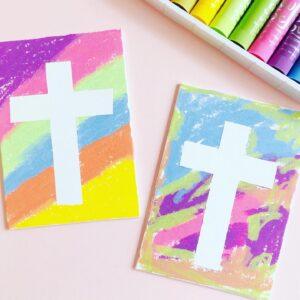 Tape Resist Easter Cross Craft